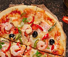 Pizza mit Garnelen | Rezept