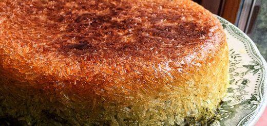 Tahchin esfenaj - Persischer Reiskuchen mit Spinat | Rezept
