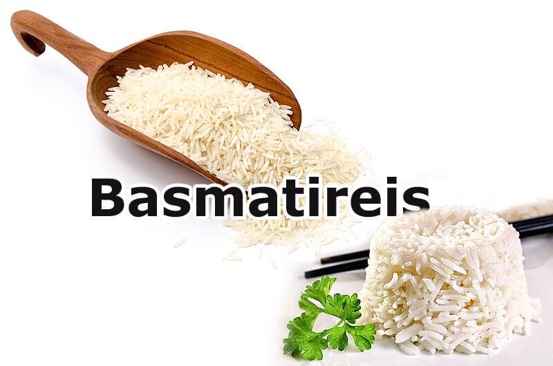 roher und gekochter Basmatireis