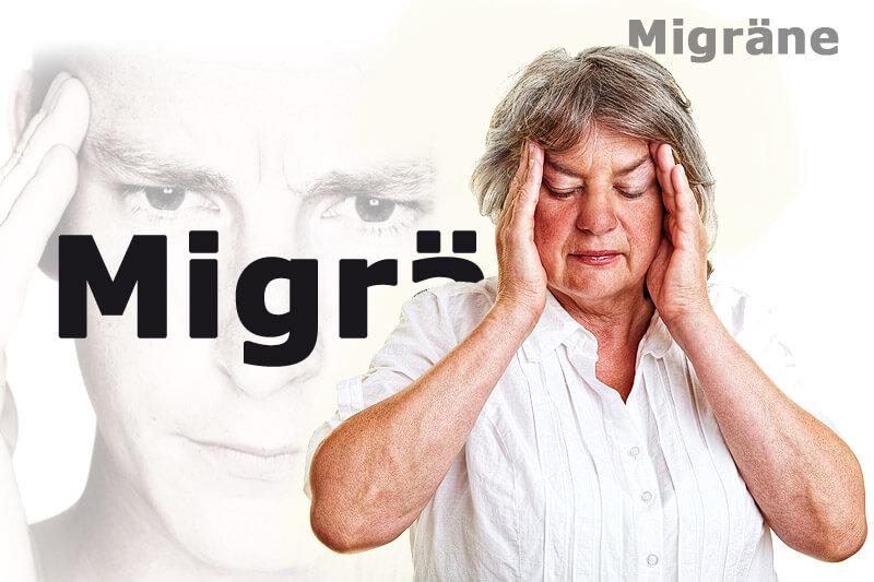Seniorin mit Migräne