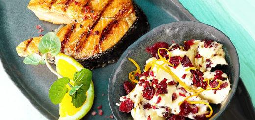 Gegrilltes Lachskotelett mit Cranberry-Senf-Butter | Rezept