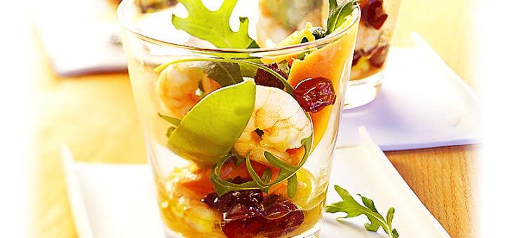 Papaya-Cranberry-Salat mit Krabben | Rezept