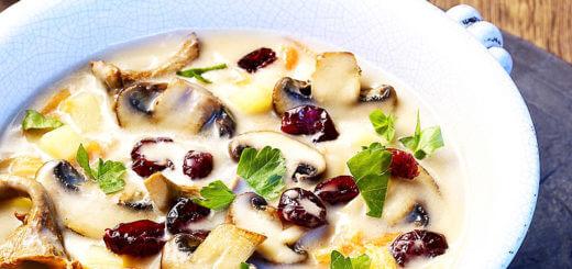 Schwammerlsuppe mit Cranberries | Rezept