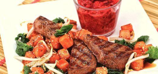 Rehrückenfilet mit Papaya und Süßkartoffel | Rezept