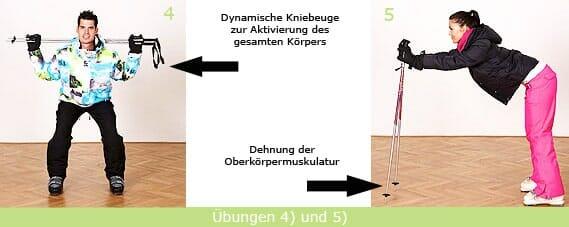 Stretching-Übung: Dynamische Kniebeugen und Dehung der Oberkörpermuskulatur