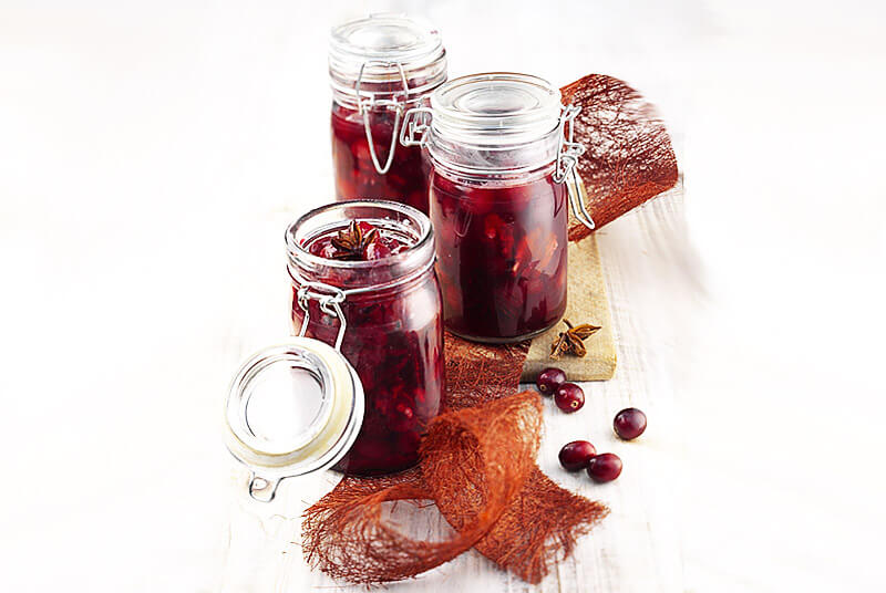 Glühwein-Cranberries im Glas