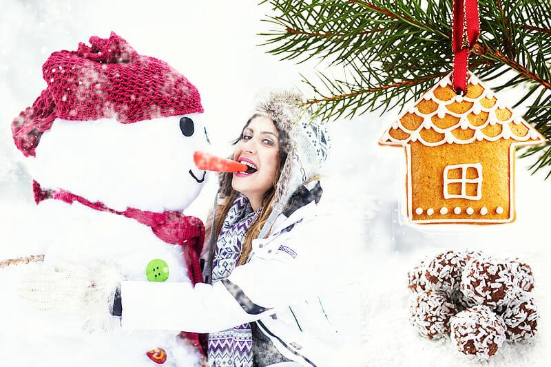 Frau mit Schneemann und Weihnachtsgebäck