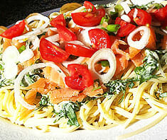 Spaghetti mit Lachs und Kräutern