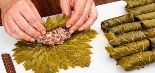Gefüllte Weinblätter mit Fleischfüllung | Rezept