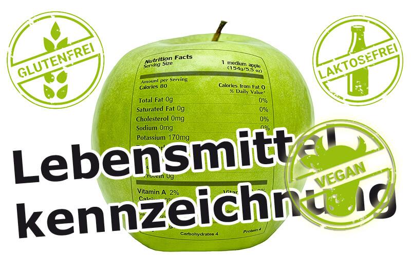 Lebensmittelkennzeichnung - Inhaltsstoffe auf Apfel
