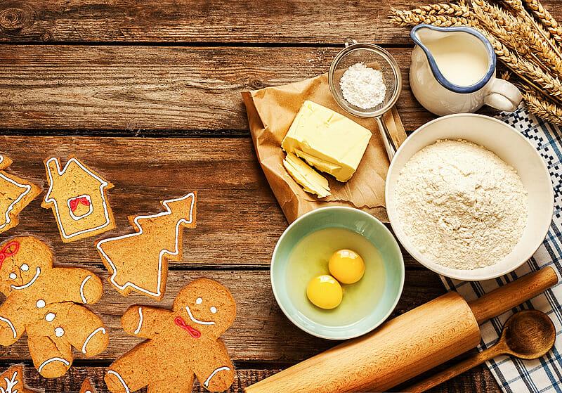 Weihnachtsbäckereien mit Backzutaten