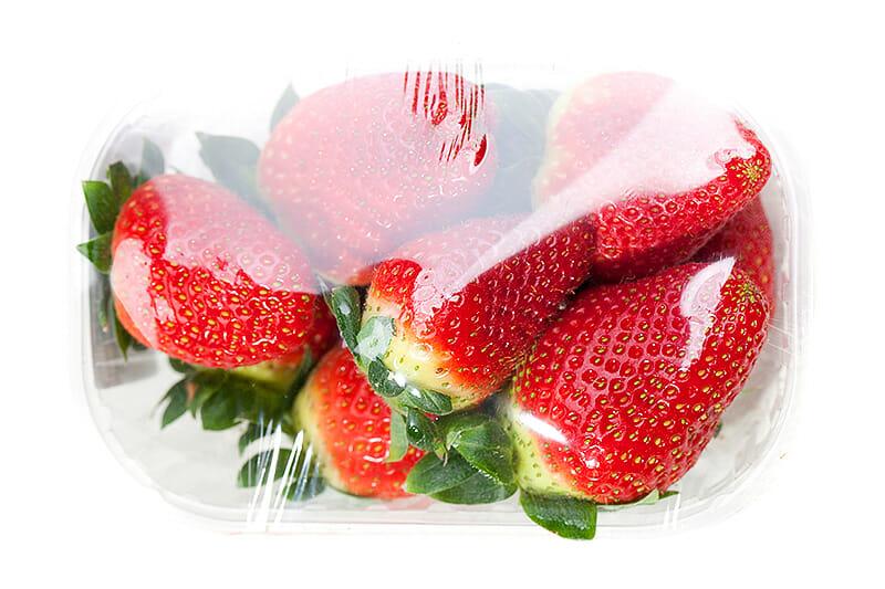 Lebensmittelverpackung bei Erdbeeren