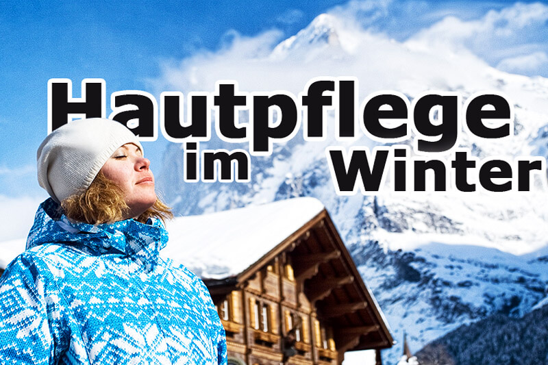 Frau sonnt sich im Schnee - Hautpflege im Winter