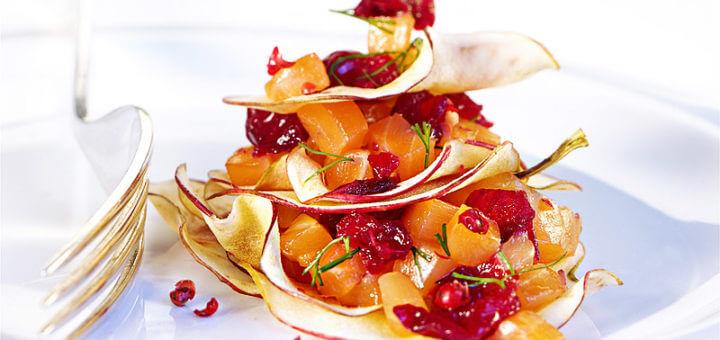 Lachstatar mit Cranberries & Apfelchips | Rezept